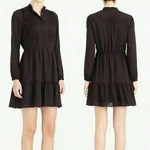 NWT J CREW MERCANTILE BLACK PINTUCK RUFFLE DRESS!